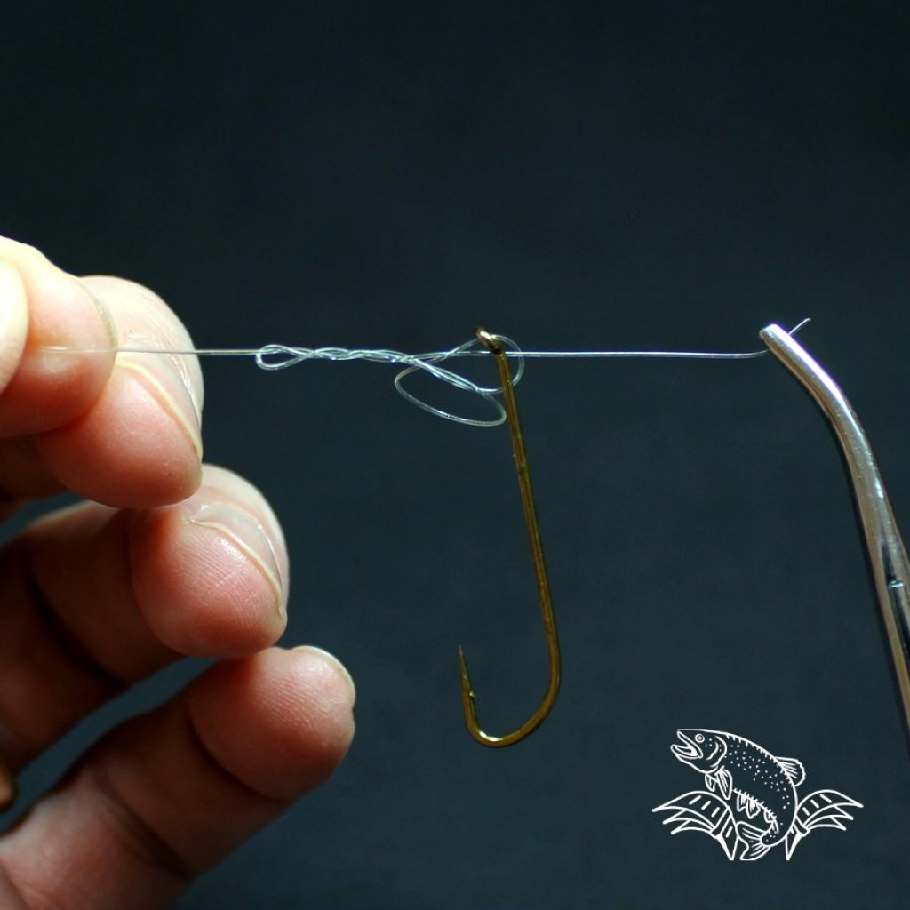 clinch knot with hemostats