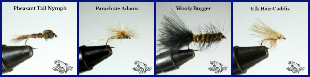 pheasant tail_parachute adams_wooly bugger_elk hair