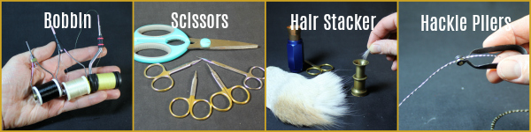 Fly Tying Tools - Bobbin, Scissors, Hair Stcker and Hackle Pliers