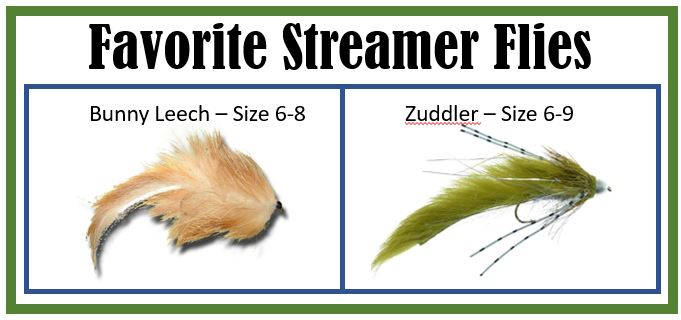Streamers for Trout bunny leech and Zuddler