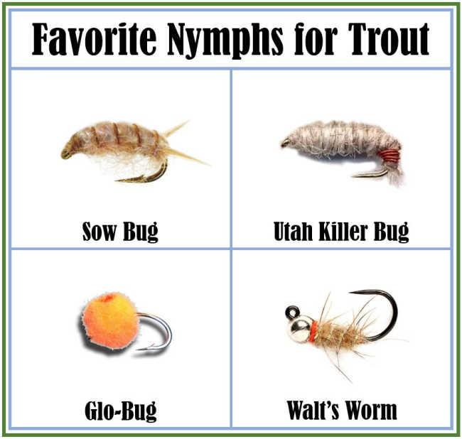 Favorite Nymphs for Trout - Sow Bug, Utah Killer, Glo-Bug, Walt's Worm