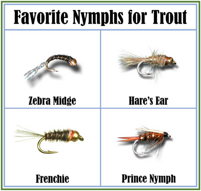 Favorite Trout Nymphs- Zebra Midge, Hare's Ear, Frenchie, Prince Nymph