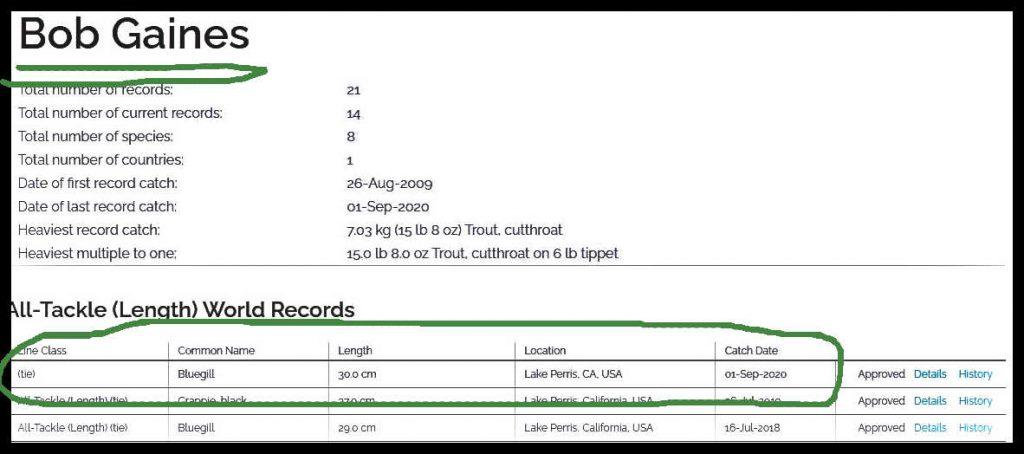 Bob Gaines World Record Bluegill  - Length
